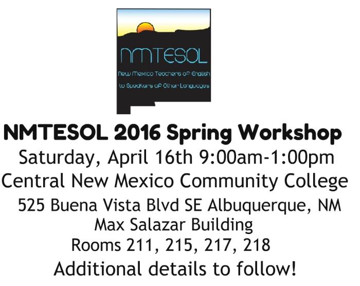 2016 Spring workshop Save the date